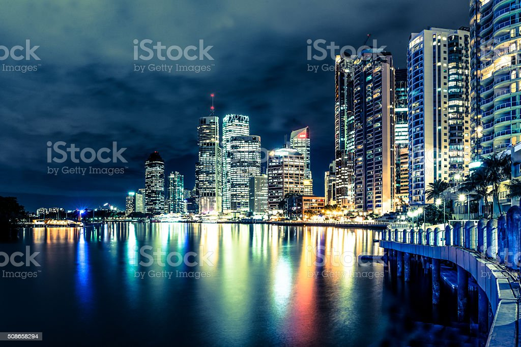 Brisbane at night, Australia stock photo