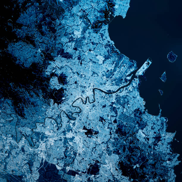 Brisbane Australien 3D Render Karte Blau Top Ansicht Sept 2019 – Foto