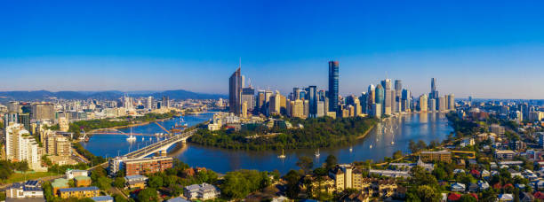 Brisbane, Australia Aerial Shot of Brisbane City oceania stock pictures, royalty-free photos & images
