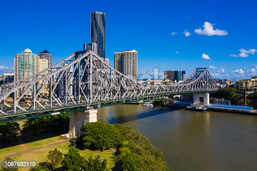 Aerial view of The Story Bridge and Brisbane City