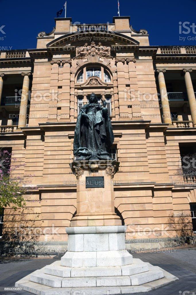 Brisbane, Australia: Queen Victoria statue in Queens Gardens stock photo