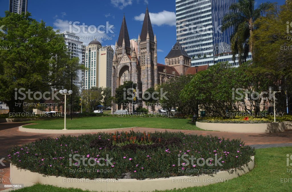 Brisbane, Australia: St John's Cathedral overlooking Cathedral Square stock photo