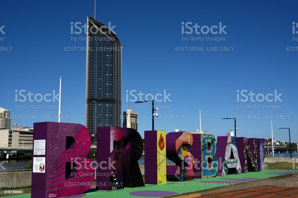 Brisbane, Australia: The Brisbane sign on the banks of the river. stock photo