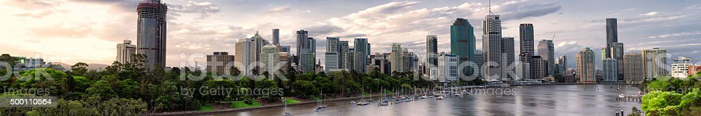 Brisbane business district sunset panorama stock photo