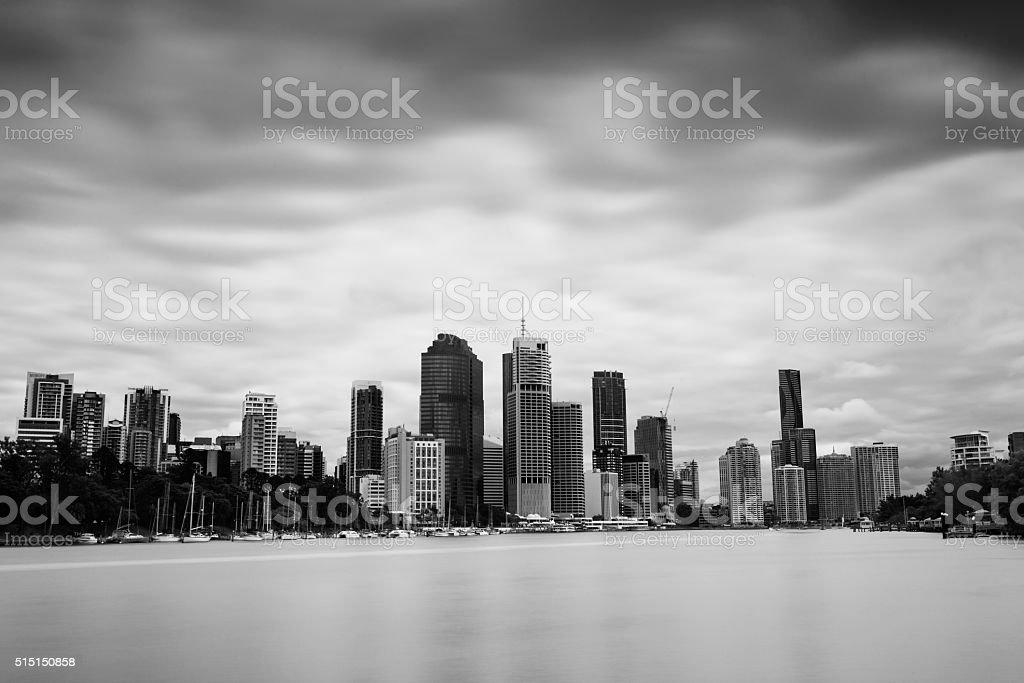 Brisbane business monchrome long exposure stock photo