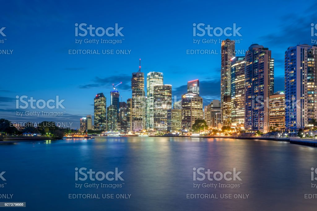 Brisbane Central Business District Skyline at night stock photo