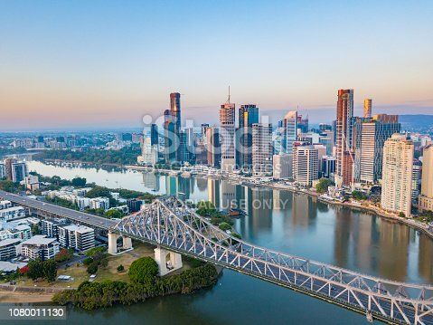 An aerial view of the Brisbane CBD and the Brisbane river including the Story Bridge