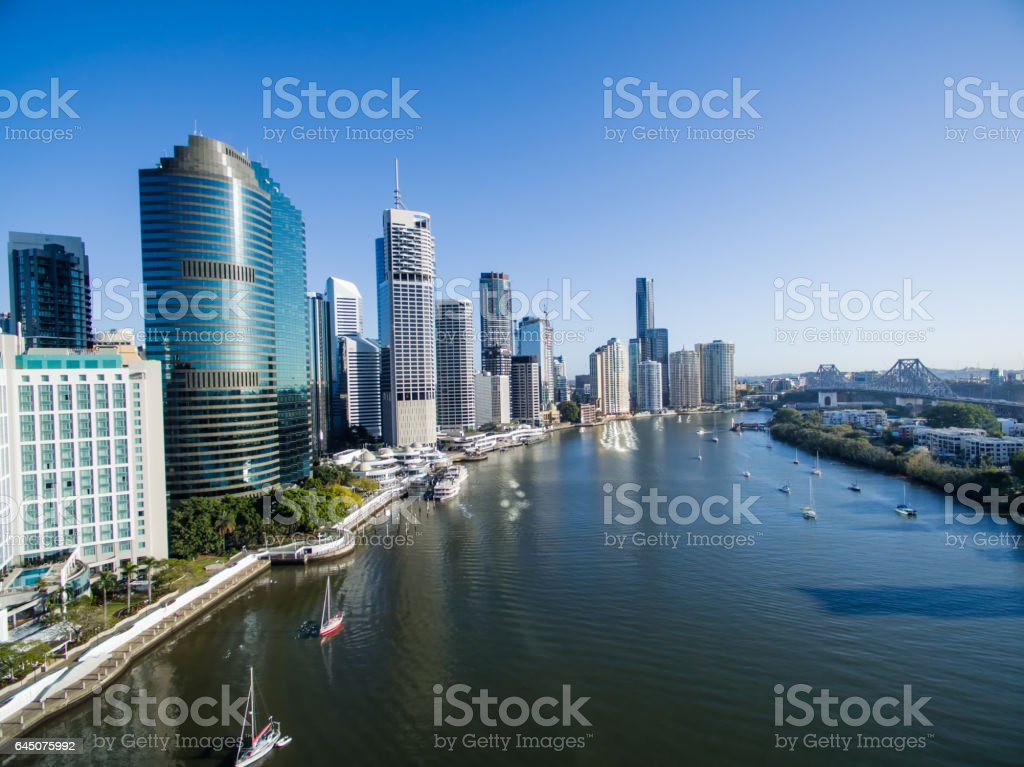 Brisbane City aerial view stock photo