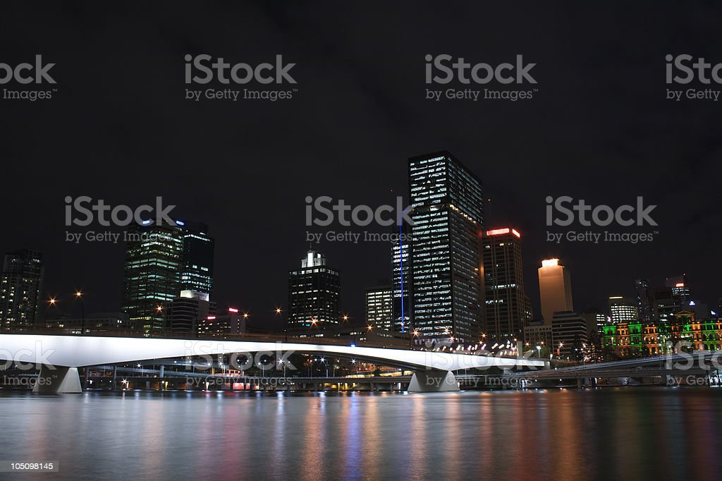 Brisbane City and the River at Night royalty-free stock photo