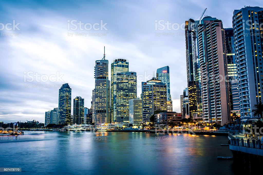 Brisbane City at dusk stock photo