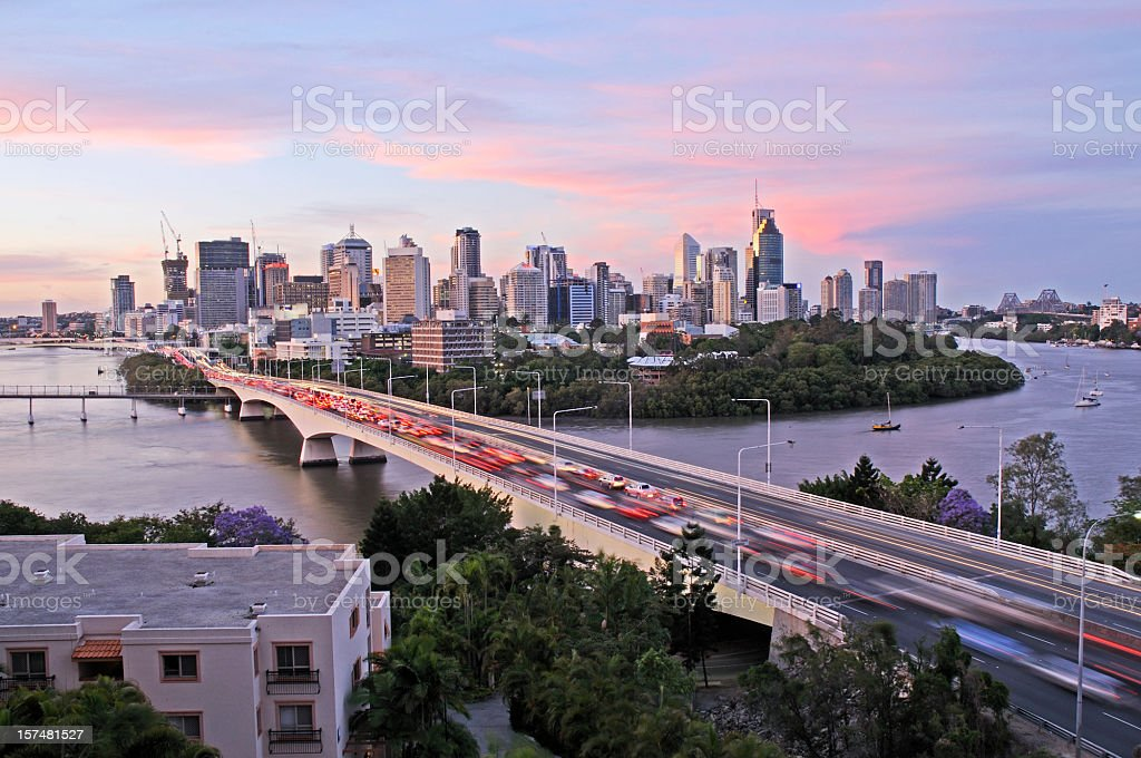 Brisbane City congestion stock photo