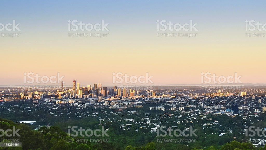 Brisbane city from Mount Coot-tha stock photo