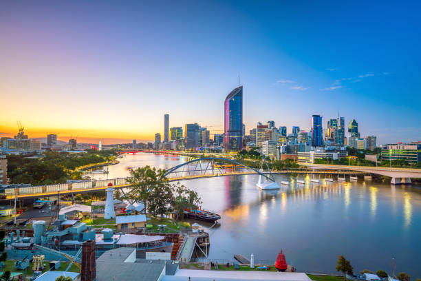 Brisbane city skyline and Brisbane river at twilight stock photo