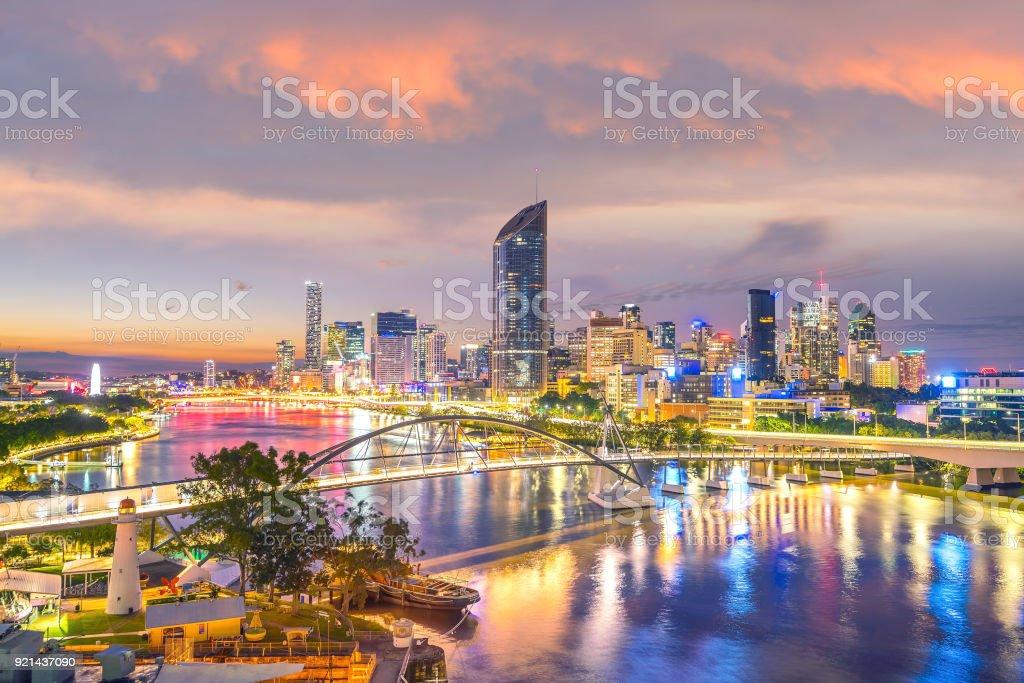 Brisbane city skyline and Brisbane river at twilight stock photo