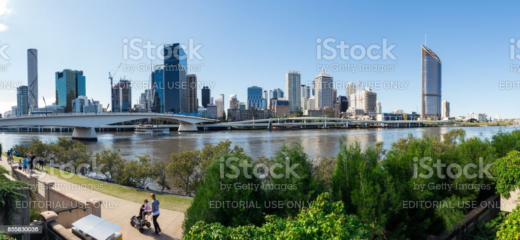 Brisbane city skyline and the Riverside Expressway seen from South Bank stock photo