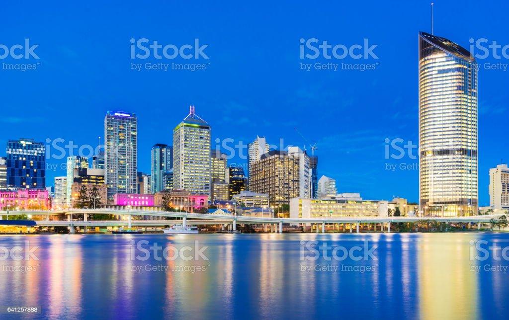 Brisbane cityscape at twilight stock photo