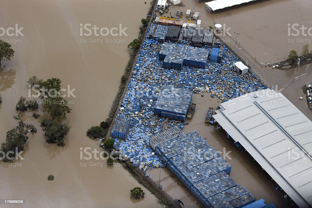 Brisbane Flood 2011 Aerial View Business Loss royalty-free stock photo