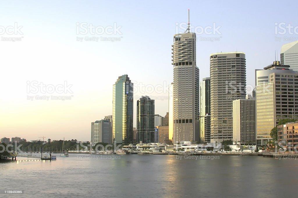 Brisbane harbor and city skyline at dawn royalty-free stock photo