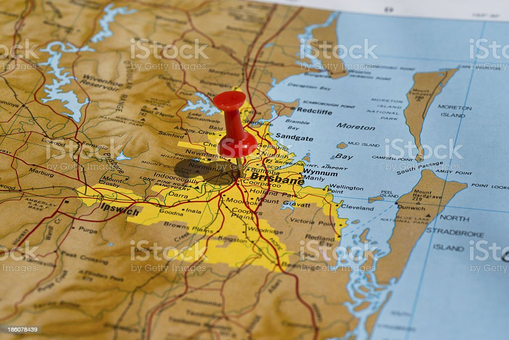 Brisbane Marked on Map with Red Pushpin stock photo