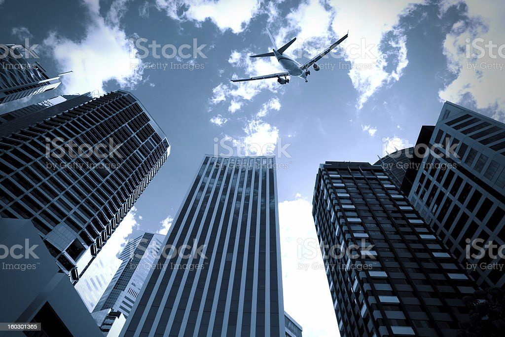 Brisbane modern buildings and aircraft royalty-free stock photo