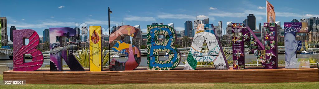 Brisbane Pictorial Sign - G20 Conference stock photo