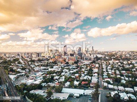 Brisbane city skyline at sunset