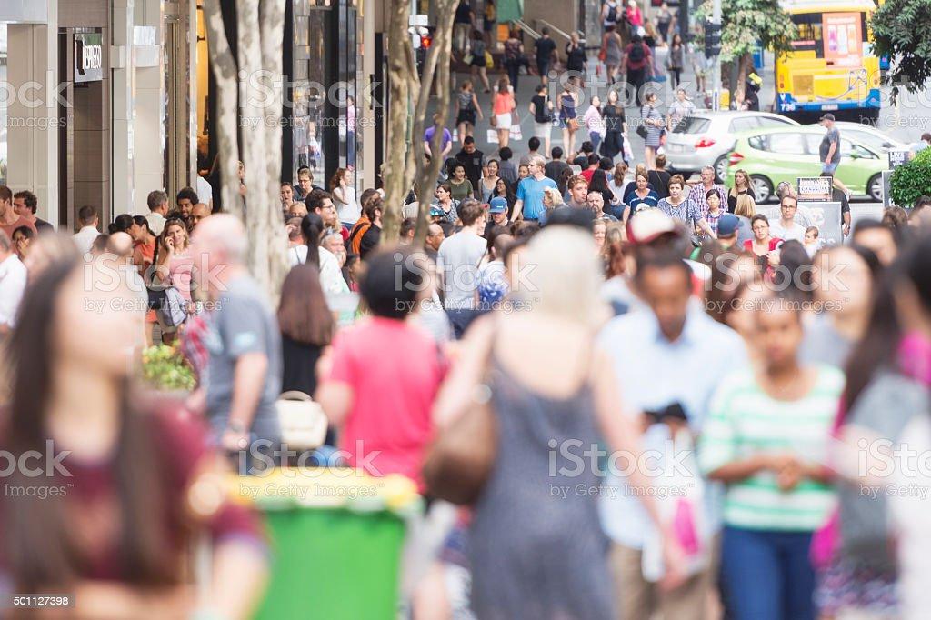 Brisbane Queen Street shopping crowds stock photo