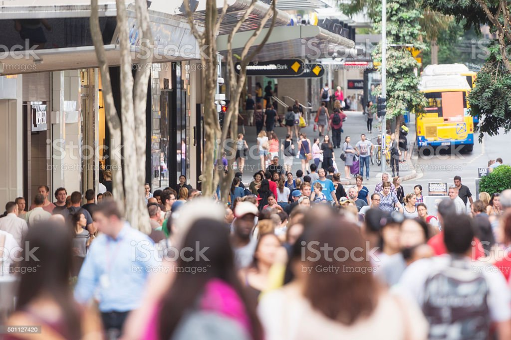 Color image of the prominent Queen Street in Brisbane with crowds...