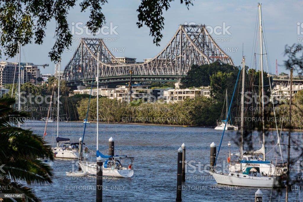 Brisbane River and Story Bridge Queensland Australia stock photo