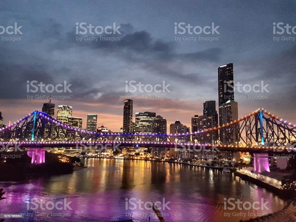 Brisbane river at dusk stock photo