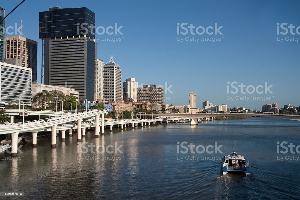 Brisbane river with ferry royalty-free stock photo