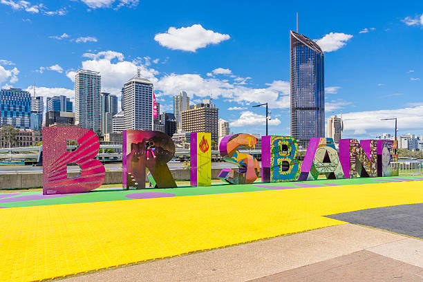 Brisbane sign and skyscrapers stock photo