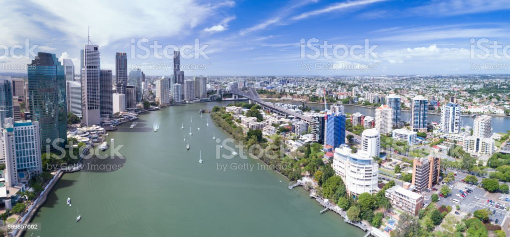Brisbane Skyline, Aerial Panorama, Queensland, Australia stock photo