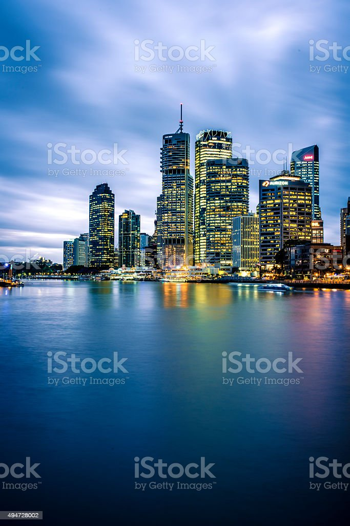 Brisbane Skyline at Dusk stock photo