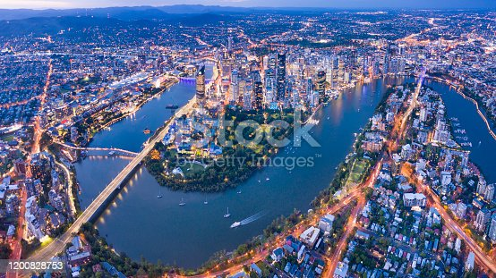 istock Brisbane Skyline Night Panorama, Australia 1200828753