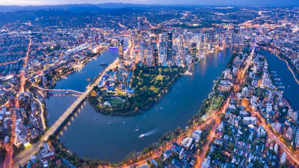 Brisbane Skyline Night Panorama, Australia stock photo