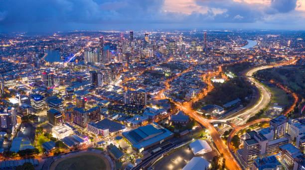 Brisbane Skyline Night Panorama with Story Bridge, Australia stock photo