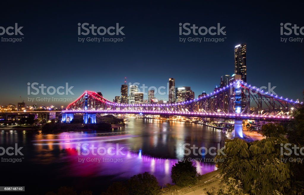 Brisbane summer night lights stock photo