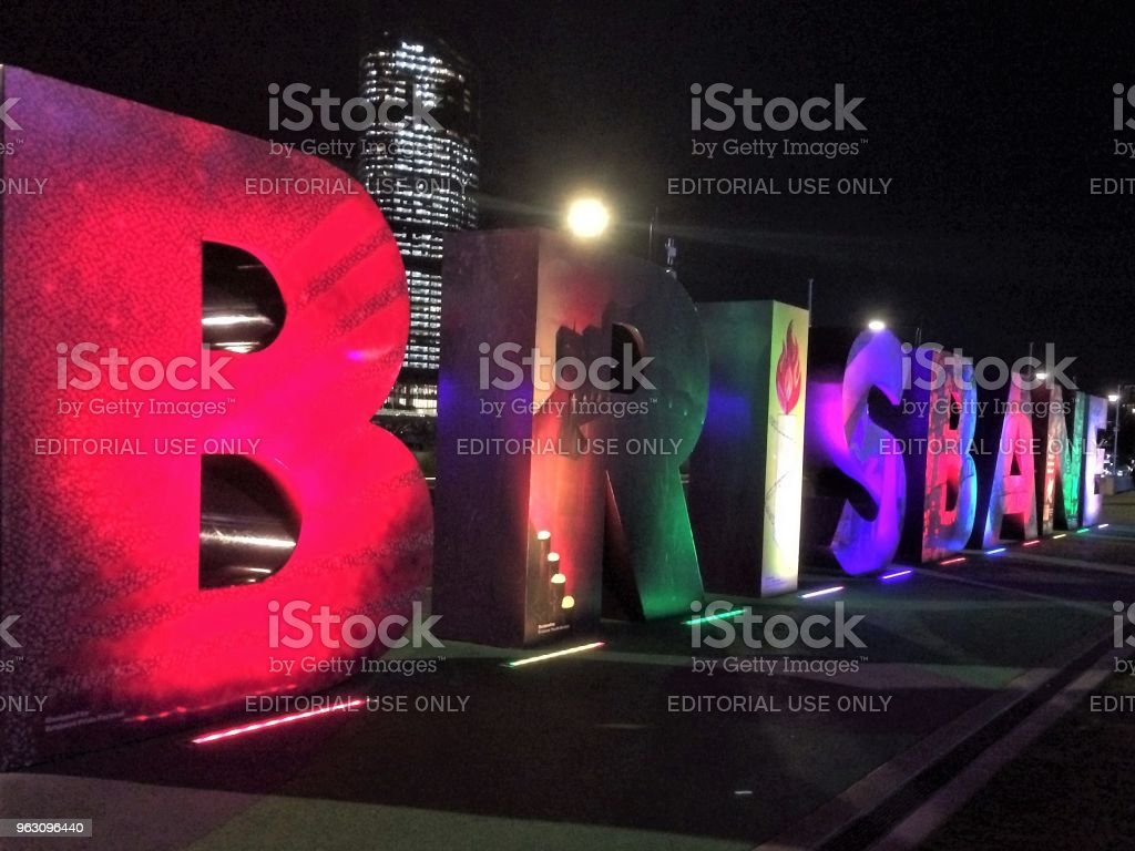 Brisbane - the name in lights stock photo