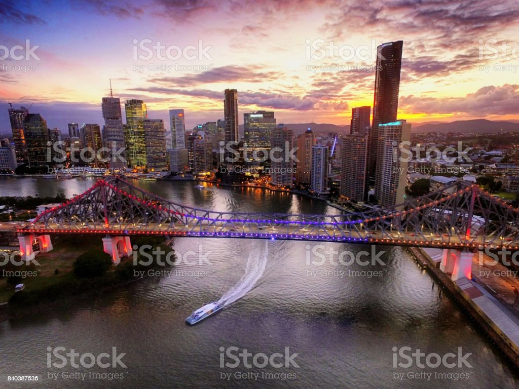 Brisbane's Story Bridge at Sunset stock photo