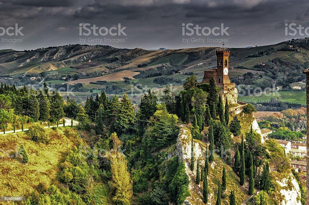 Brisighella medieval clock tower stock photo
