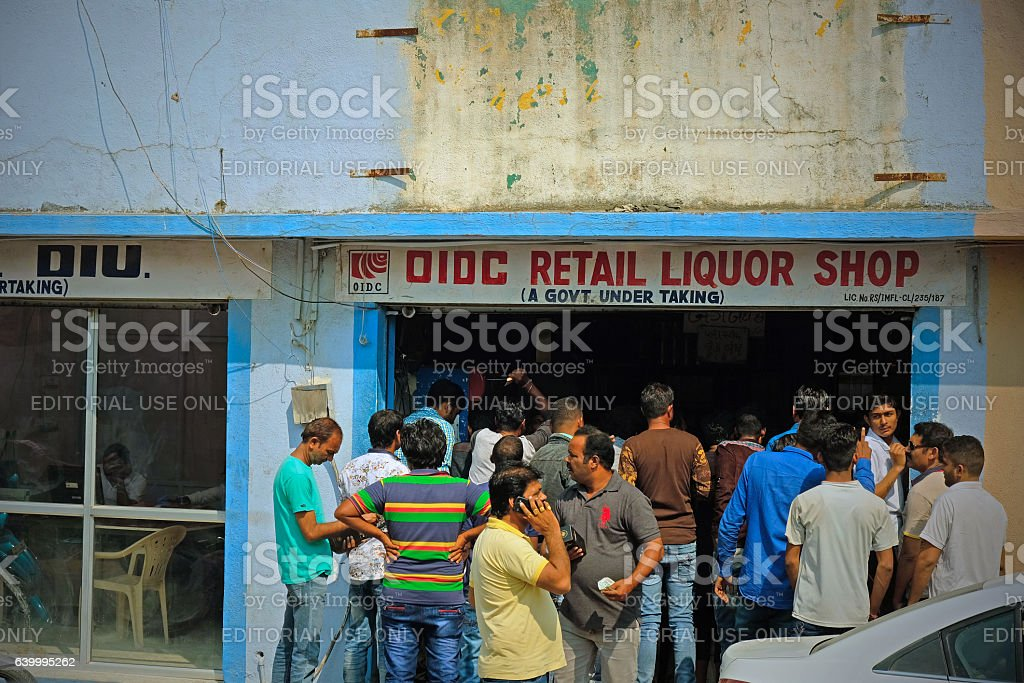 Brisk business at the liquor store stock photo