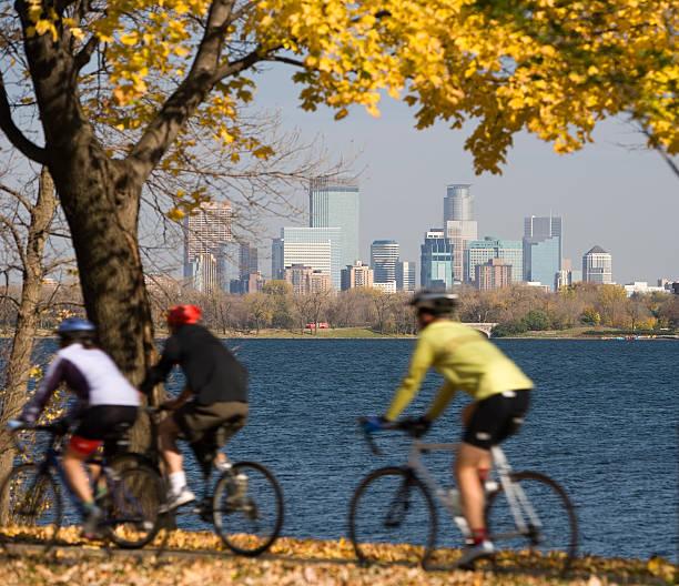 Brisk fall day in Minneapolis. stock photo