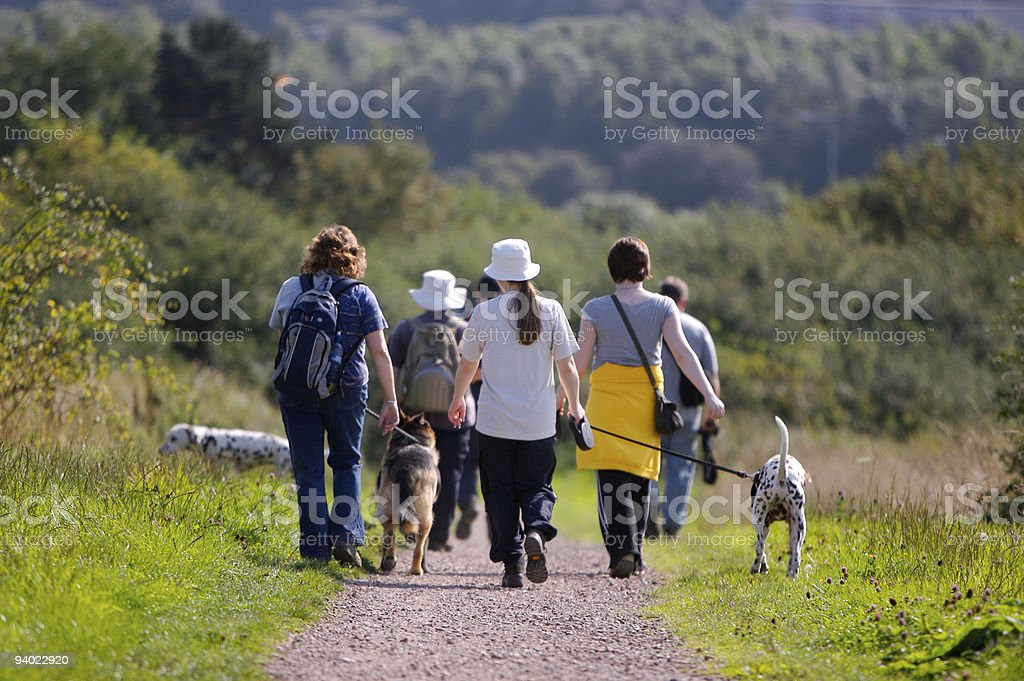 Brisk walk in the country stock photo