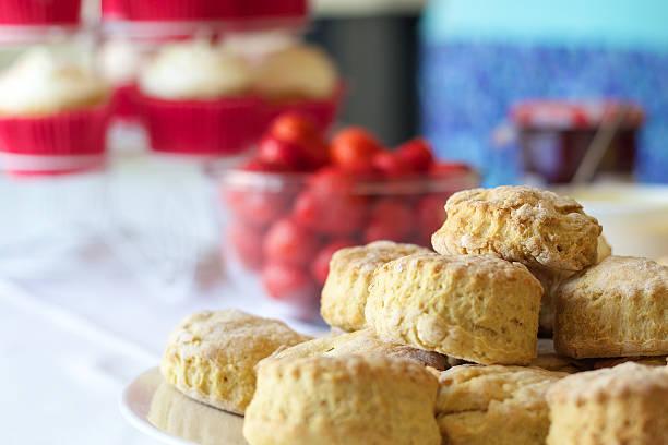 Bristish Cream Tea - complete with Scones and Strawberries stock photo