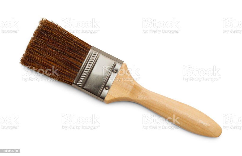Bristle Paint Brush Horse Hair Bristle Paint Brush Isolated on White Background. Antique Stock Photo