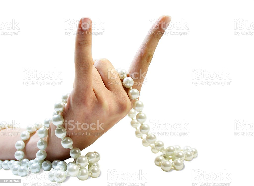 Bristling fingers with beads royalty-free stock photo