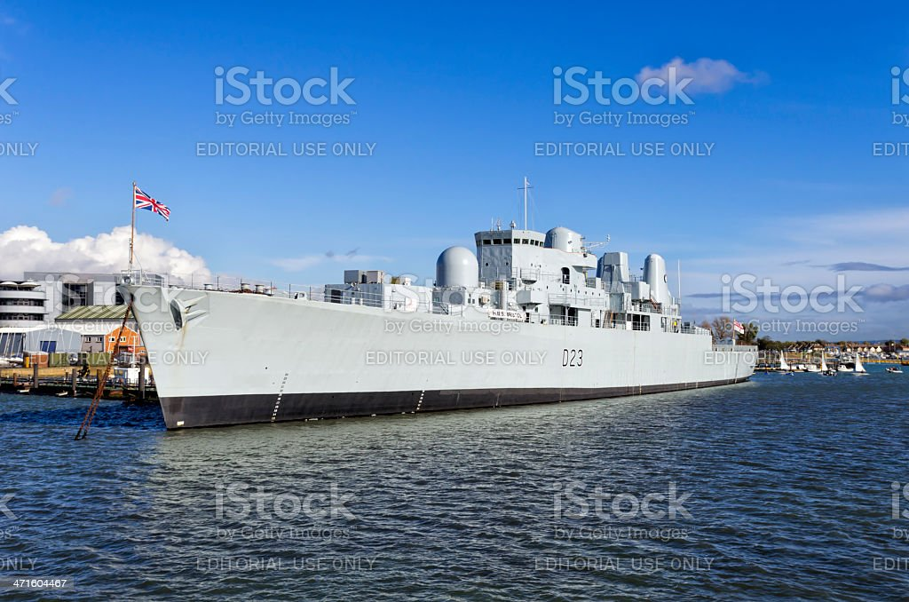 HMS Bristol at Portsmouth royalty-free stock photo