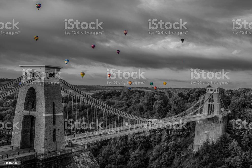 Bristol Balloon Fiesta from clifton suspension bridge stock photo