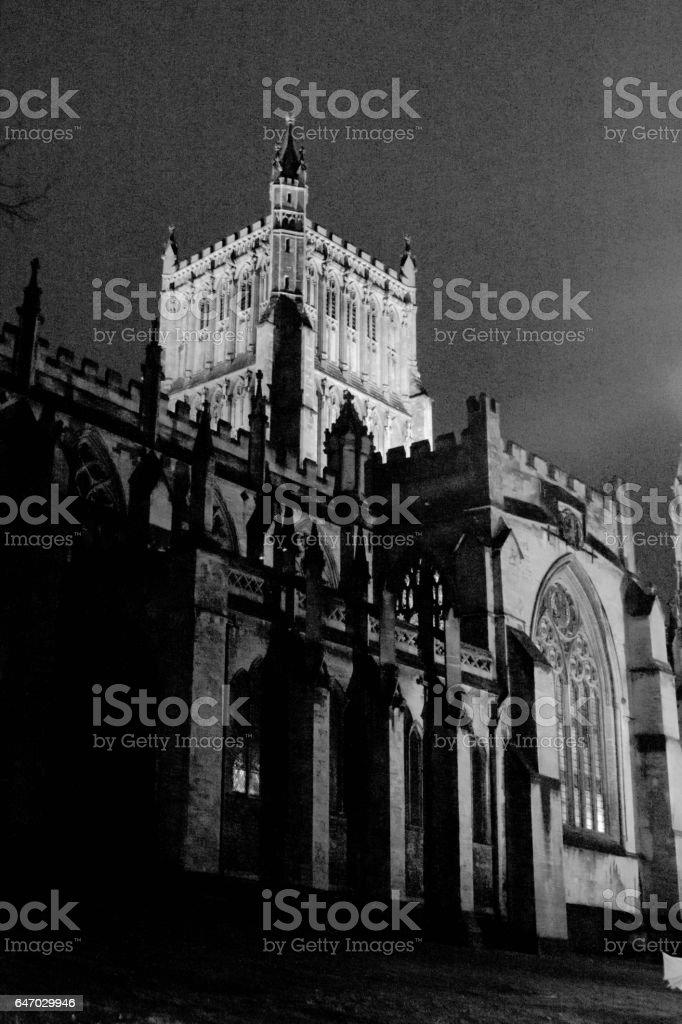 Bristol Cathedral at night stock photo
